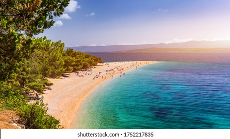 Beautiful panorama of famous Adriatic beach Zlatni Rat (Golden Cape or Golden Horn) with turquoise water , Island of Brac Croatia summertime. Famous Adriatic beach Zlatni Rat in Bol, Brac, Croatia.