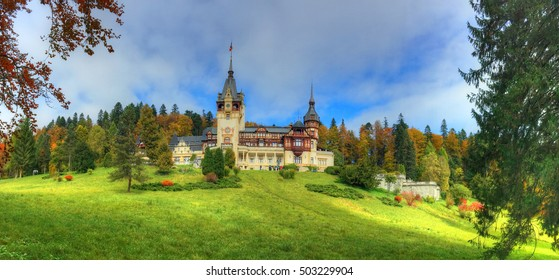 Beautiful panorama with famous and medieval Peles castle in autumn season, Sinaia,  Romania
