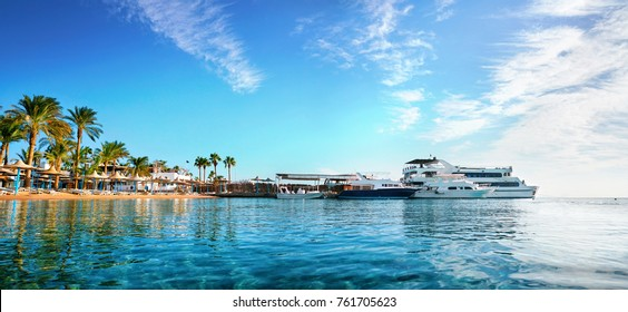 Beautiful panorama with a golden beach with palm trees and yachts against a blue sky with clouds. Romantic idealistic image of an exotic beach holiday. Egypt Hurghada.