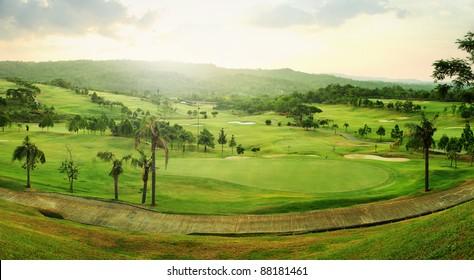 Beautiful panorama golf course in sunrise