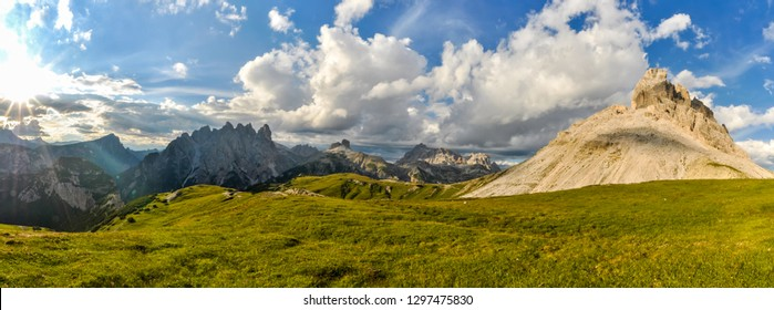 Beautiful panorama of Italian Dolomites on sunny summer day.