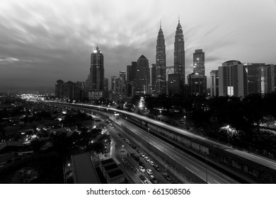 Beautiful panorama of Kuala Lumpur City Centre in black and white