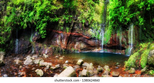 Beautiful panorama landscape of the 25 Fontes falls, a cascade waterfall at the end of a levada hike on the island Madeira