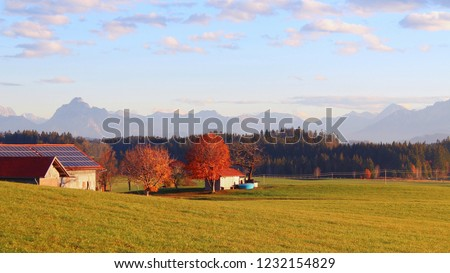 Beautiful panorama landscape in fall, farmhouse on the left side, Alps mountains in the background, Allgäu, Bavaria