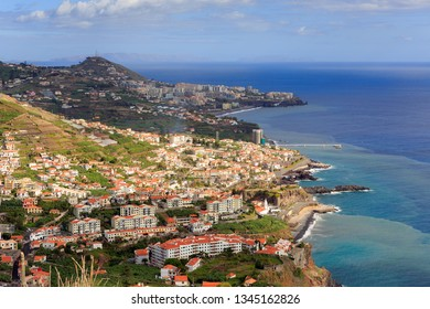 Beautiful panorama landscape of the steep coastline of Madeira on a cloudy summer day