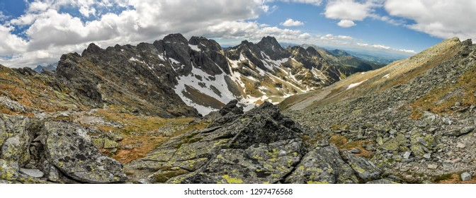 Beautiful panorama of mountainous landscape of Carphatian mountains in Slovakia.