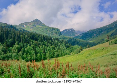 beautiful panorama of the mountains on the Caucasus mountain