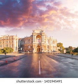 Beautiful panorama of Odessa, Ukraine. Odessa State Academic Opera and Ballet Theater. Odessa Opera and Ballet Theater at sunset with a beautiful colorful sunset sky. Cultural Center on the Black Sea