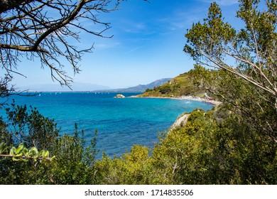 beautiful panorama on the sea of Agropoli in the bay of Trentova. Cilento and Vallo di Diano national park. Campania, Italy