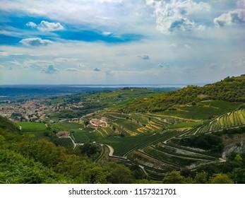 Beautiful panorama on Valpolicella from San Giorgio, Verona - Italy
