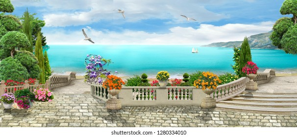 Beautiful panorama overlooking the sea. Beautiful view. Digital fresco