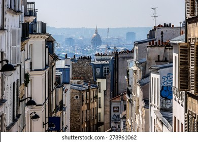 Beautiful Panorama of Paris and the buildings of Montmartre. Paris, France.