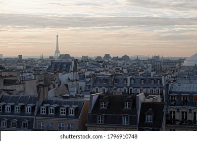 Beautiful panorama of Paris, France at sunset