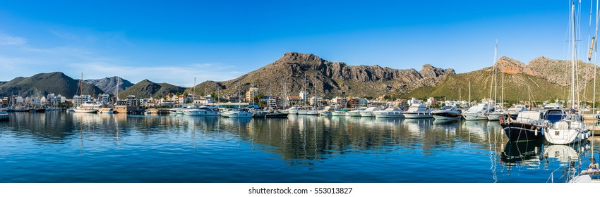 Beautiful Panorama of Port de Pollenca, Spain Majorca Seaside, Mediterranean Sea, Balearic Islands.