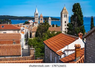 Beautiful panorama of Rab city on the Island Rab in Croatia. Rab - wonderful touristic destination in Croatia. Sea is at the background.