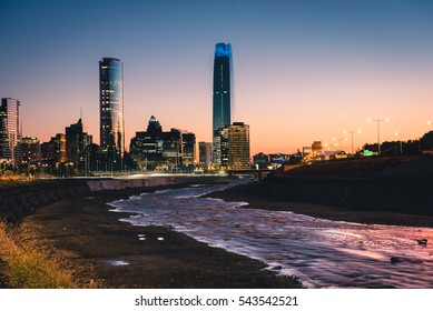 Beautiful panorama of Santiago, Chile in the evening. Horizontal outdoors shot