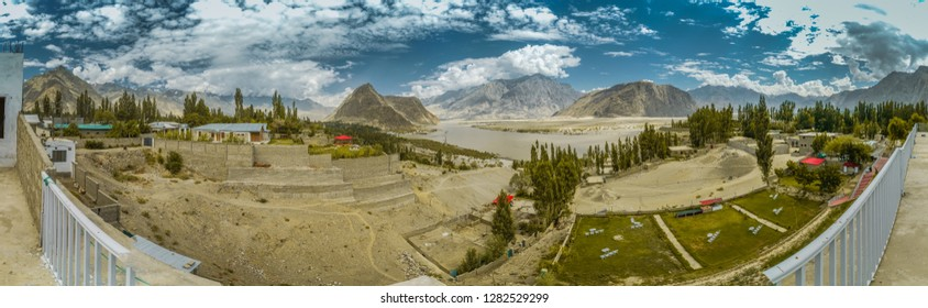 Beautiful panorama of Skardu in Pakistan with river Indus and Karakoram mountain range.