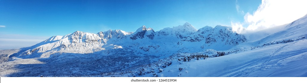 Beautiful panorama of snow-capped mountain range