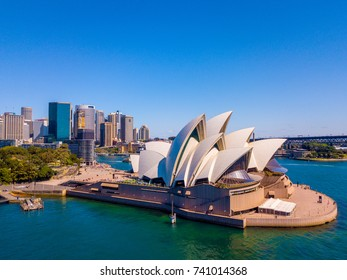 Beautiful panorama of the Sydney harbour district with Harbour bridge, Botanical garden and the Opera building. April 10, 2016. Sydney, Australia