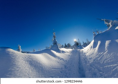 Beautiful panorama taken in polish mountains Beskidy on the way to Rysianka during snowy winter. Landscape  captured during trekking.