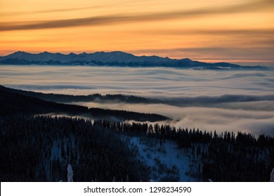 Beautiful panorama taken in polish mountains Beskidy on the way to Rysianka during snowy winter. Landscape  captured during trekking in surise.