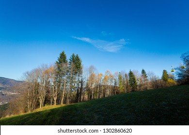 Beautiful panorama taken in polish mountains Beskidy on the way to Skrzyczne from Bialy Krzyz and Malinowska Skala during sunny weather. Landscape captured during trekking.