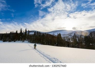 Beautiful panorama taken in polish mountains Beskidy on the way to Hala Lipowska during snowy winter. Landscape with man captured during skitour trekking.
