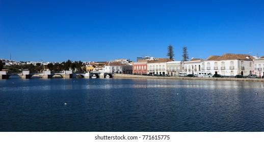 Beautiful panorama of Tavira town in Algarve, Portugal.