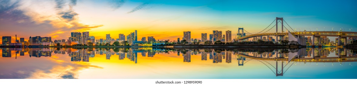 Beautiful panorama of Tokyo skyline with reflection