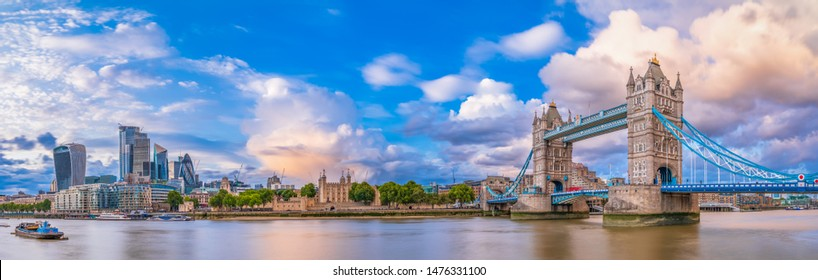 Beautiful panorama of Tower Bridge and financial district of London. England. UK