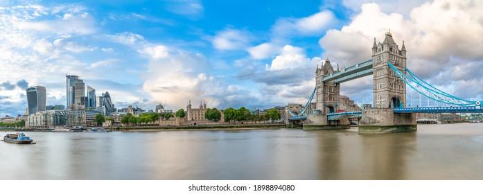 Beautiful panorama of Tower Bridge and financial district of London. England. UK