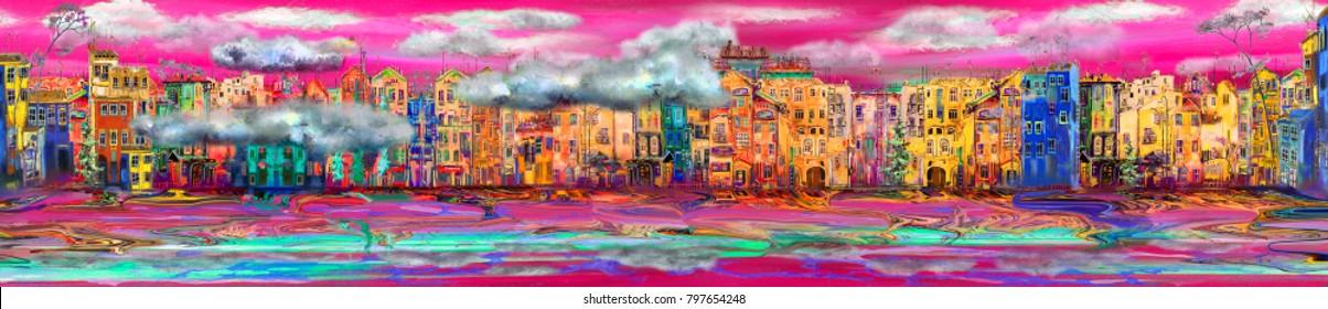Beautiful panorama of town near the sea with purple sunset