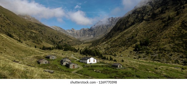 Beautiful Panorama of Val Grande with blue, cloudy sky