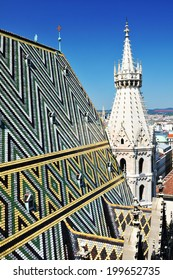 Beautiful panorama of Vienna seen from the roof of St. Stephen's Cathedral (Stephansdom)