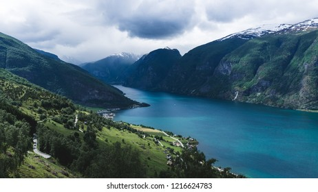 Beautiful panorama with view to Aurland, Aurlandfjord and Sognefjord from Stegastein in Norway, Europe. Sognefjord is largest and second longest fjord in the world.