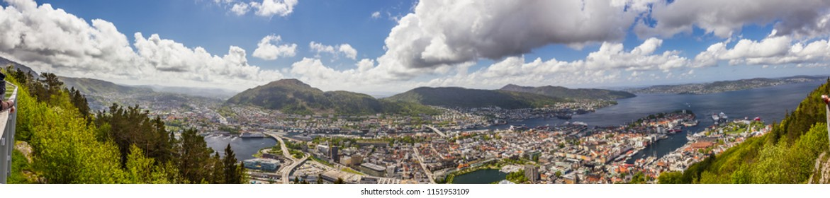 Beautiful panorama view of Bergen city, Norway