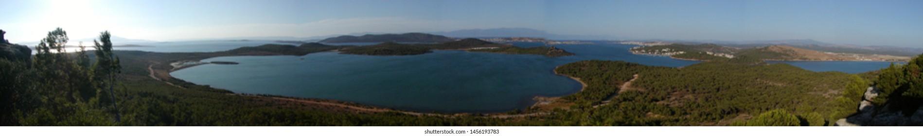 beautiful panorama view from devil's table (seytan sofrasi) ayvalik