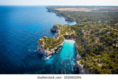 Beautiful panorama view of the Formentor peninsular in the district of Pollenca, Mallorca spain, Aerial/drone photo