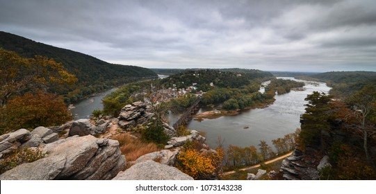 Beautiful panorama view of Harper's Ferry city in West Virginia with Potomac and Shenandoah rivers and colorful forest