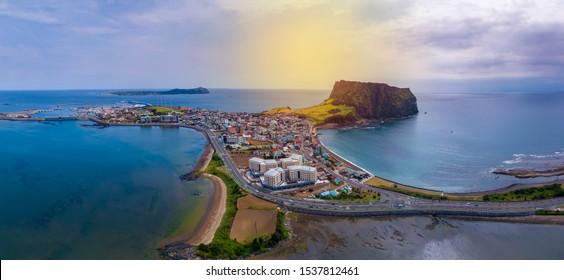 Beautiful panorama view of Jeju island in South Korea. Jeju-do or Jeju island is famous place in South Korea.
