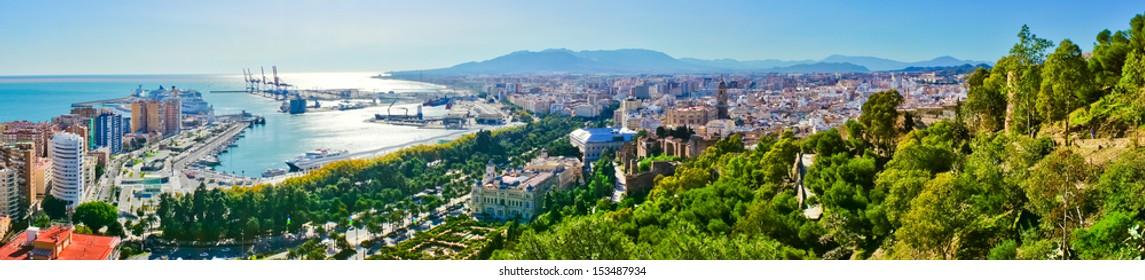 Beautiful panorama view of Malaga city, Spain