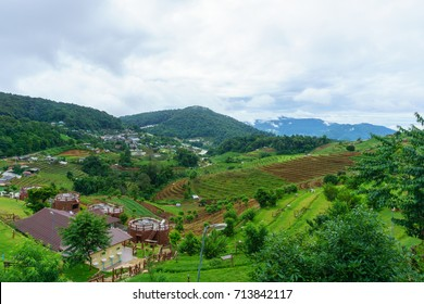 Beautiful panorama view of mon cham valley with cloudy sky and mountain background in the morning. Chiangmai, Thailand.