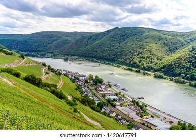 Beautiful Panorama view on upper middle Rhine river valley (Mittelrhein), vineyards  by Assmanshausen, nearby Rudesheim am Rhein, Lorch. Hessen, Germany. Unesco