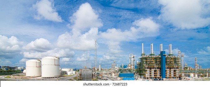 Beautiful panorama view of the Polyethylene plant in the industrial park
