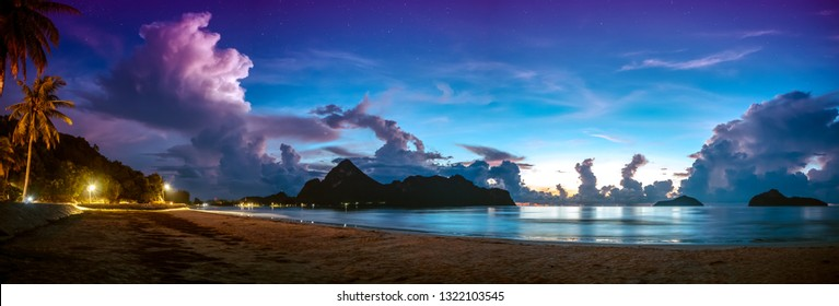 Beautiful panorama view of the sea. Colorful blue sky with cloud and star bright sunrise on seascape. Serenity nature background outdoor at morning.