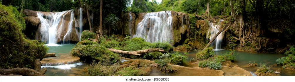 Beautiful panorama of waterfalls in deep forest ,Thailand.