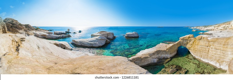 Beautiful panorama of Wild beach in Cyprus, Paphos, close to end of Peya village, the area is hidden and never too crowded, foreigners make weddings here and event photo shoots during summer