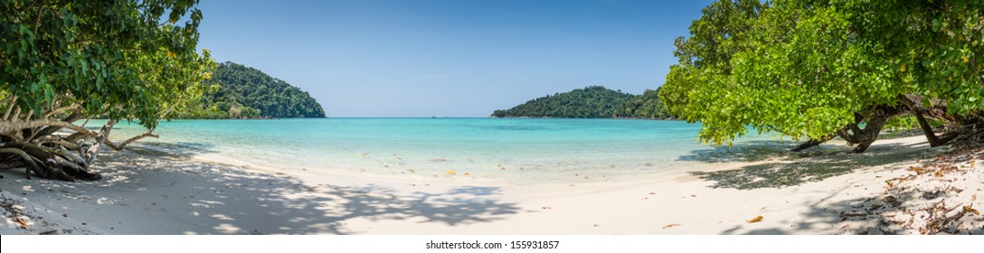 Beautiful Panorama Wild Tropical Beach. Turquoise Sea at Surin Marine Park Island. Thailand. South East Asia.