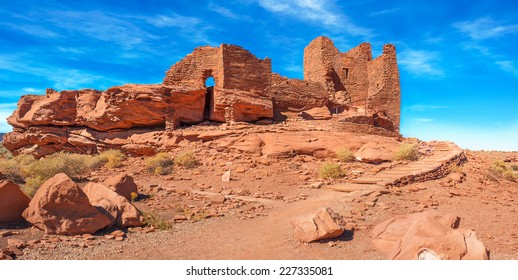 Beautiful Panorama of Wukoki or Big House in Wupatki National Monument occupied by the Kayenta Anasazi culture from 1120 to 1210