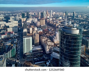 Beautiful panoramic aerial drone view to the center of Warsaw City and The Warsaw Spire - 220 metre neomodern office building on European square (Plac Europejski)